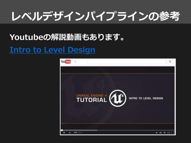 レベルデザインパイプラインの参考 Youtubeの解説動画もあります。 Intro to Level Design