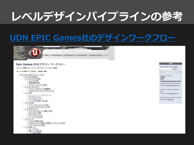 レベルデザインパイプラインの参考 UDN EPIC Games社のデザインワークフロー
