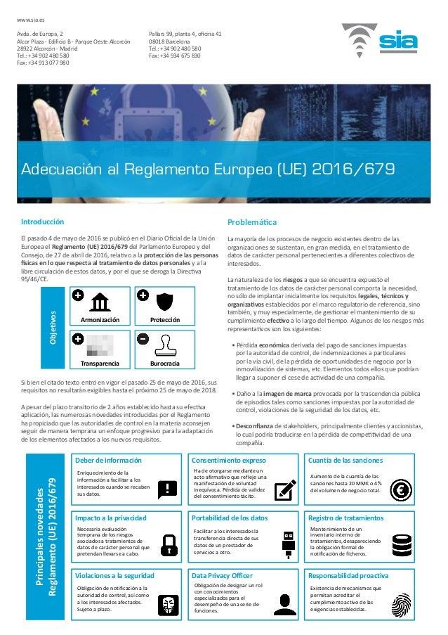 Introducción El pasado 4 de mayo de 2016 se publicó en el Diario Oficial de la Unión Europea el Reglamento (UE) 2016/679 d...