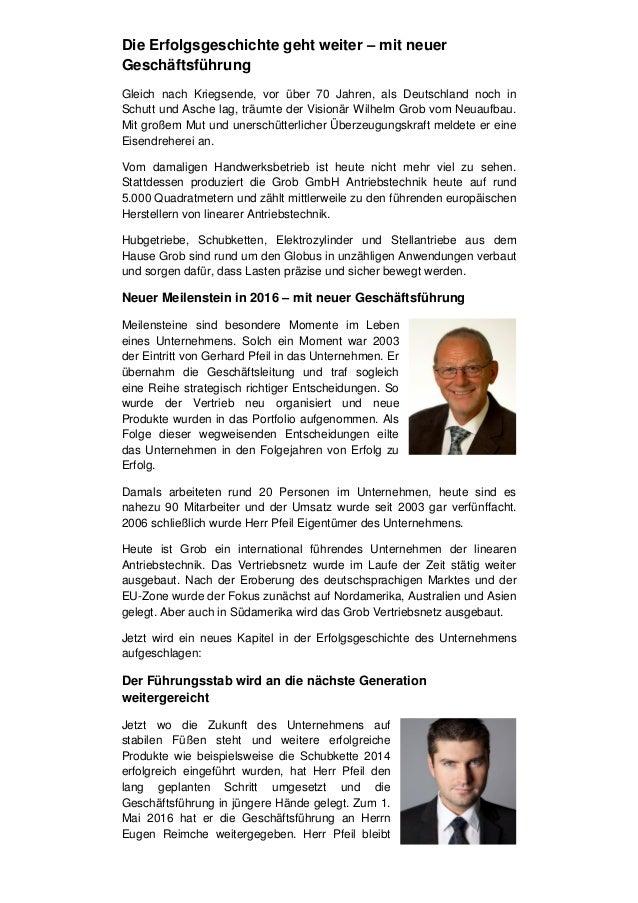 Die Erfolgsgeschichte geht weiter – mit neuer Geschäftsführung Gleich nach Kriegsende, vor über 70 Jahren, als Deutschland...