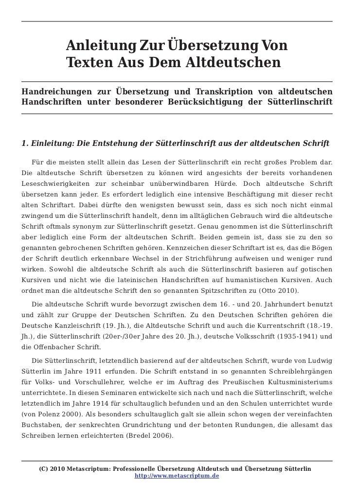 Anleitung Zur Übersetzung Von             Texten Aus Dem AltdeutschenHandreichungen zur Übersetzung und Transkription von ...