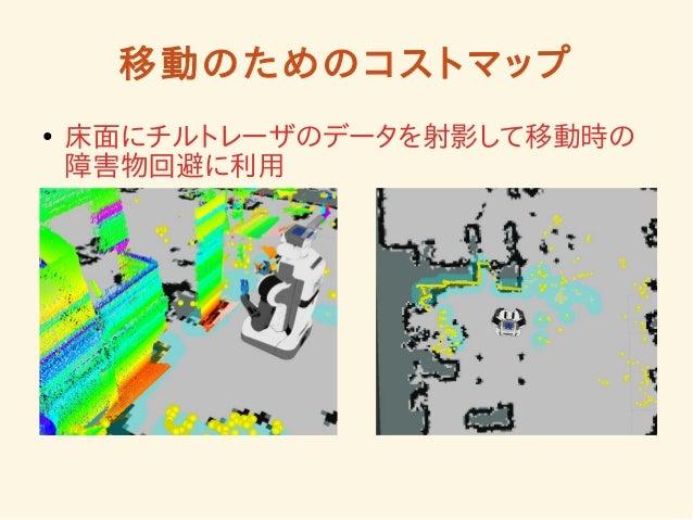 移動のためのコストマップ  ● 床面にチルトレーザのデータを射影して移動時の  障害物回避に利用