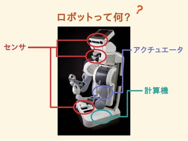 ロボットって何?  ?  センサアクチュエータ  計算機