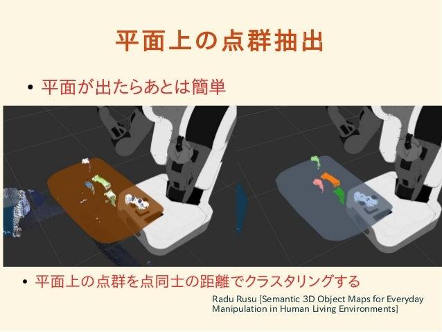 平面上の点群抽出  ● 平面が出たらあとは簡単  ● 平面上の点群を点同士の距離でクラスタリングする  Radu Rusu [Semantic 3D Object Maps for Everyday  Manipulation in Human...
