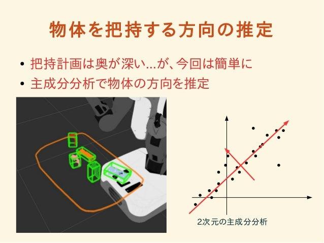 物体を把持する方向の推定  ● 把持計画は奥が深い...が、今回は簡単に  ● 主成分分析で物体の方向を推定  2次元の主成分分析