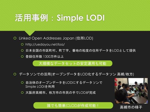 活用事例:Simple LODI  Linked Open Addresses Japan (住所LOD)  http://uedayou.net/loa/  日本全国の市区町村、町丁字、番地の粒度の住所データをLODとして提供  登録...