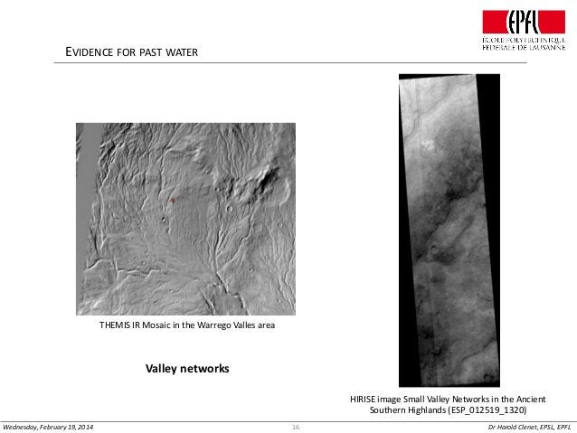 EVIDENCE FOR PAST WATER  THEMIS IR Mosaic in the Warrego Valles area  Valley networks HIRISE image Small Valley Networks i...