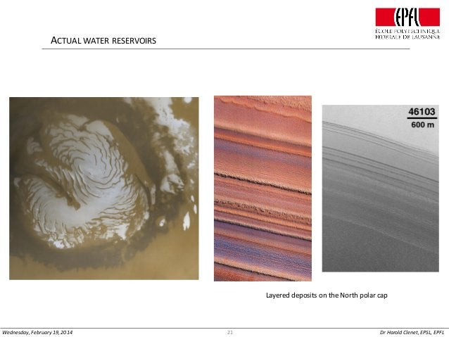 ACTUAL WATER RESERVOIRS  Layered deposits on the North polar cap  Wednesday, February 19, 2014  21  Dr Harold Clenet, EPSL...