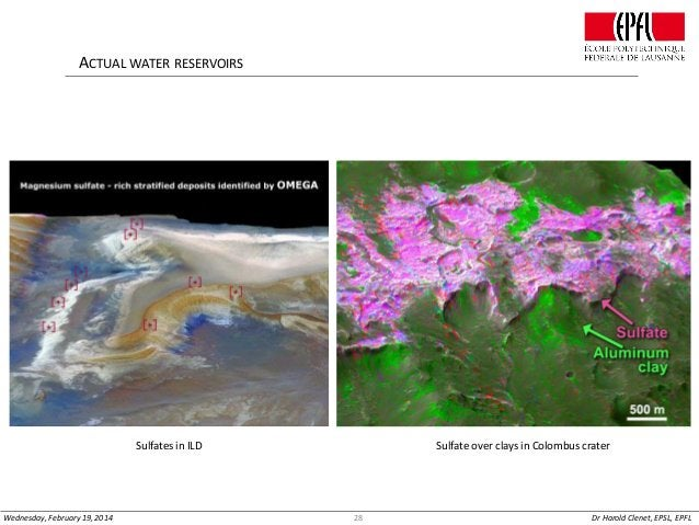 ACTUAL WATER RESERVOIRS  Sulfates in ILD  Wednesday, February 19, 2014  Sulfate over clays in Colombus crater  28  Dr Haro...