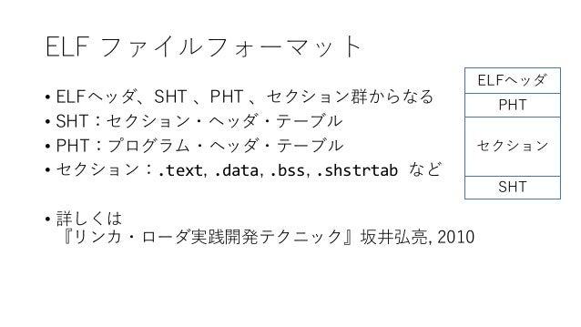 ELF ファイルフォーマット • ELFヘッダ、SHT 、PHT 、セクション群からなる • SHT:セクション・ヘッダ・テーブル • PHT:プログラム・ヘッダ・テーブル • セクション:.text, .data, .bss, .shstrt...