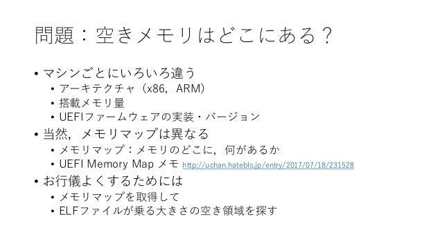 問題:空きメモリはどこにある? • マシンごとにいろいろ違う • アーキテクチャ(x86,ARM) • 搭載メモリ量 • UEFIファームウェアの実装・バージョン • 当然,メモリマップは異なる • メモリマップ:メモリのどこに,何があるか •...