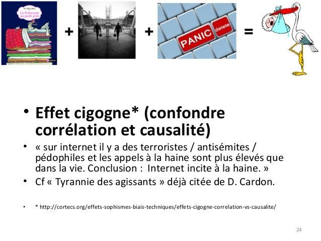 24 • Effet cigogne* (confondre corrélation et causalité) • « sur internet il y a des terroristes / antisémites / pédophile...