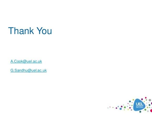 Thank You A.Cook@uel.ac.uk G.Sandhu@uel.ac.uk