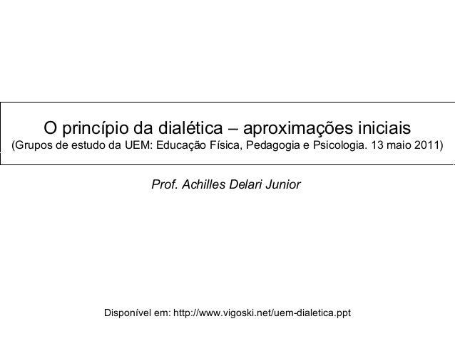 O princípio da dialética – aproximações iniciais (Grupos de estudo da UEM: Educação Física, Pedagogia e Psicologia. 13 mai...