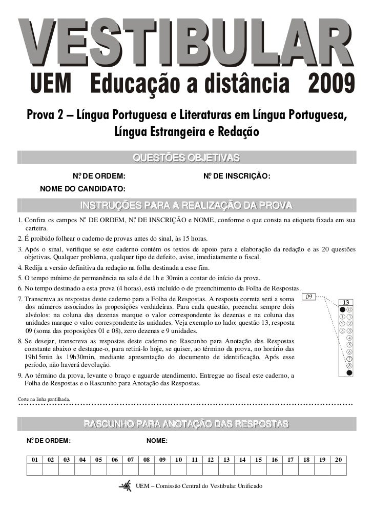 Prova 2 – Língua Portuguesa e Literaturas em Língua Portuguesa,                     Língua Estrangeira e Redação          ...