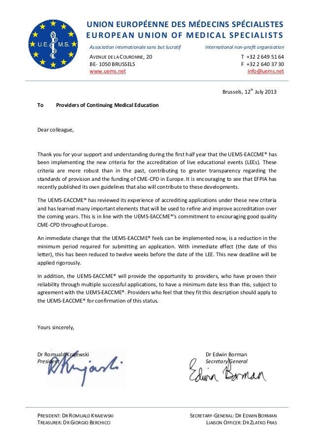 UNION EUROPÉENNE DES MÉDECINS SPÉCIALISTES EUROPEAN UNION OF MEDICAL SPECIALISTS Association internationale sans but lucra...