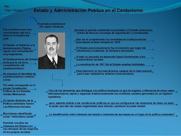 Estado y Administración Pública en el Cardenismo Por: Edgar Vásquez Durante el periodo cardenista la sociedad y el Estado ...