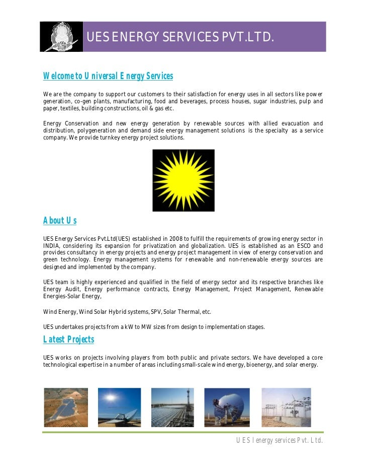 UES ENERGY SERVICES PVT.LTD.Welcome to Universal Energy ServicesWe are the company to support our customers to their satis...