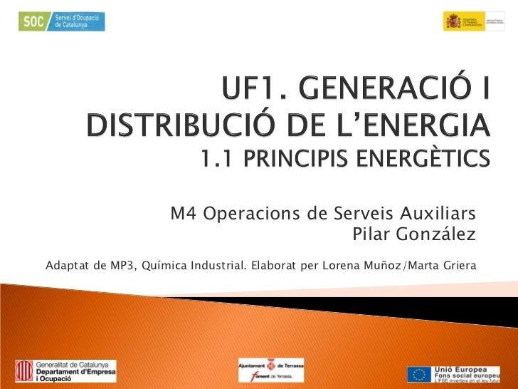M4 Operacions de Serveis Auxiliars                                        Pilar GonzálezAdaptat de MP3, Química Industrial...
