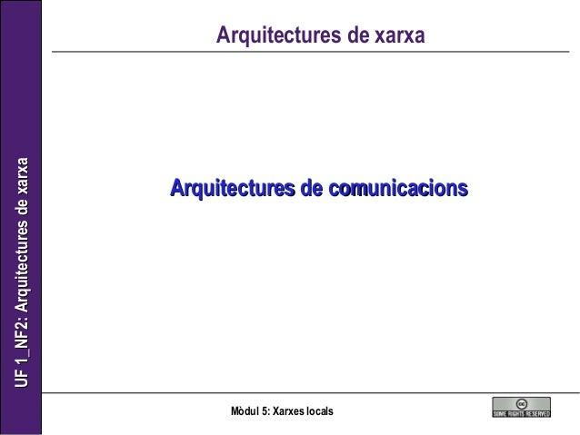 UF1_NF2:ArquitecturesdexarxaUF1_NF2:Arquitecturesdexarxa Mòdul 5: Xarxes locals Arquitectures de xarxa Arquitectures de co...