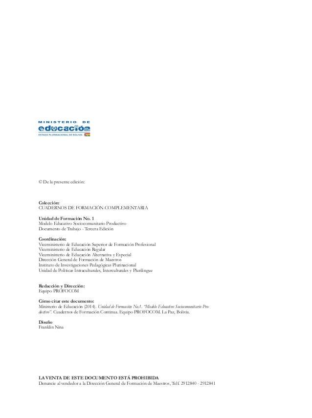 © De la presente edición:  Colección:  CUADERNOS DE FORMACIÓN COMPLEMENTARIA  Unidad de Formación No. 1  Modelo Educativo ...