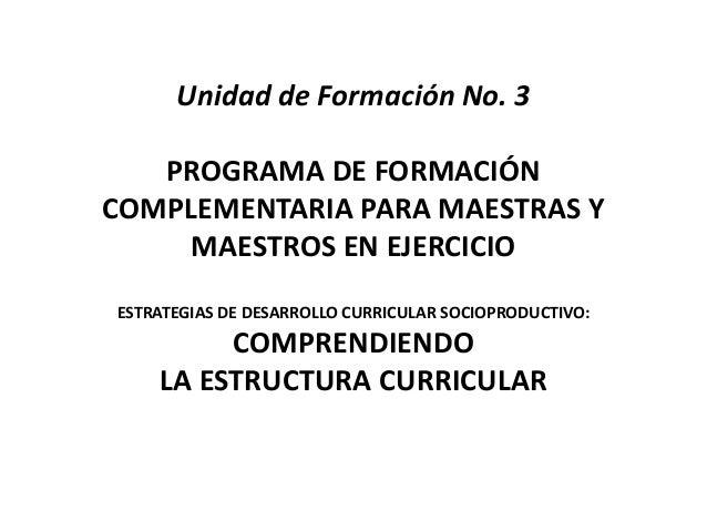 Unidad de Formación No. 3 PROGRAMA DE FORMACIÓN COMPLEMENTARIA PARA MAESTRAS Y MAESTROS EN EJERCICIO ESTRATEGIAS DE DESARR...
