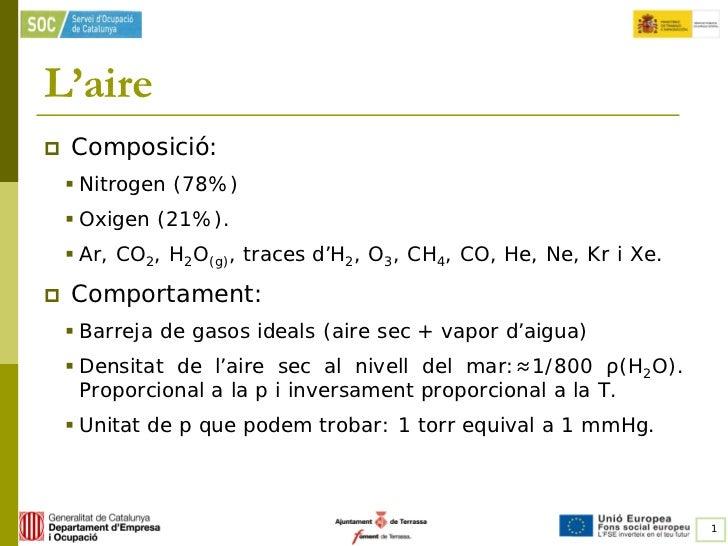 L'aire   Composició:     Nitrogen (78%)     Oxigen (21%).     Ar, CO2, H2O(g), traces d'H2, O3, CH4, CO, He, Ne, Kr i ...