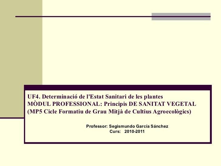 UF4.Determinació de l'Estat Sanitari de les plantes MÒDUL PROFESSIONAL: Principis DE SANITAT VEGETAL (MP5 Cicle Formatiu ...