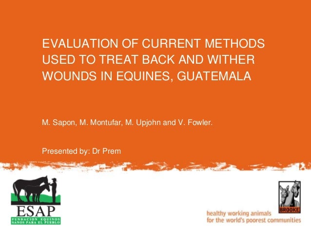 M. Sapon, M. Montufar, M. Upjohn and V. Fowler. Presented by: Dr Prem EVALUATION OF CURRENT METHODS USED TO TREAT BACK AND...