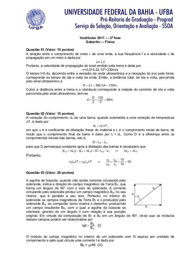 Vestibular 2011 — 2a fase                                      Gabarito — FísicaQuestão 01 (Valor: 15 pontos)A relação ent...