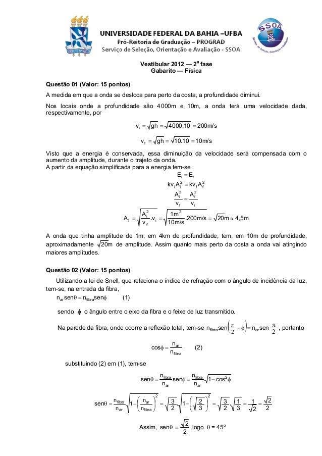 Vestibular 2012 — 2a fase                                         Gabarito — FísicaQuestão 01 (Valor: 15 pontos)A medida e...