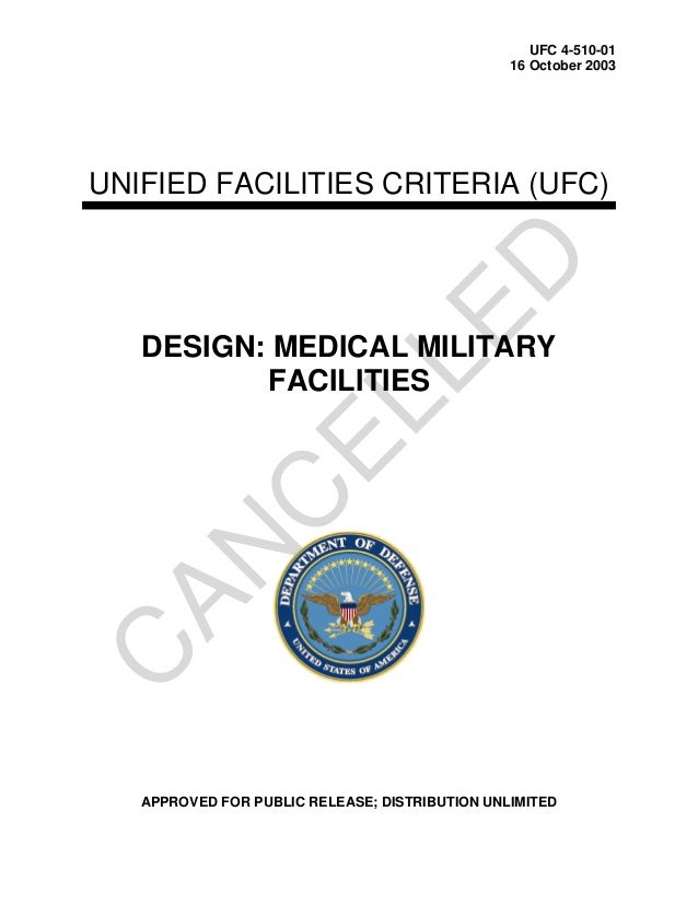 UFC 4-510-0116 October 2003UNIFIED FACILITIES CRITERIA (UFC)DESIGN: MEDICAL MILITARYFACILITIESAPPROVED FOR PUBLIC RELEASE;...