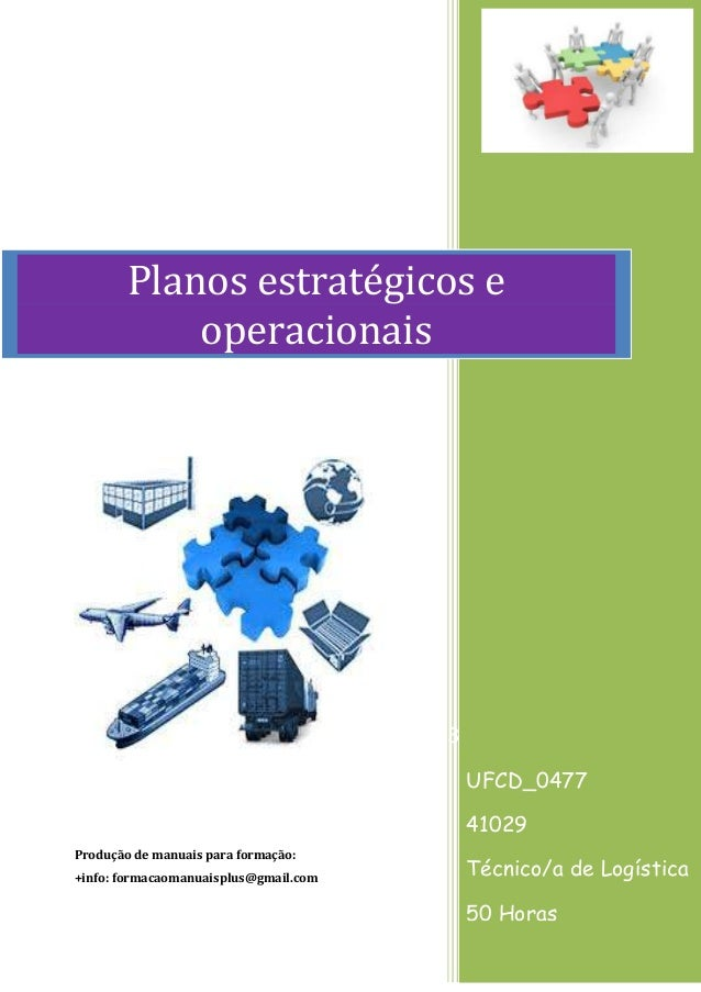 Produção de manuais para formação: +info: formacaomanuaisplus@gmail.com 3 UFCD_0477 41029 Técnico/a de Logística 50 Horas ...