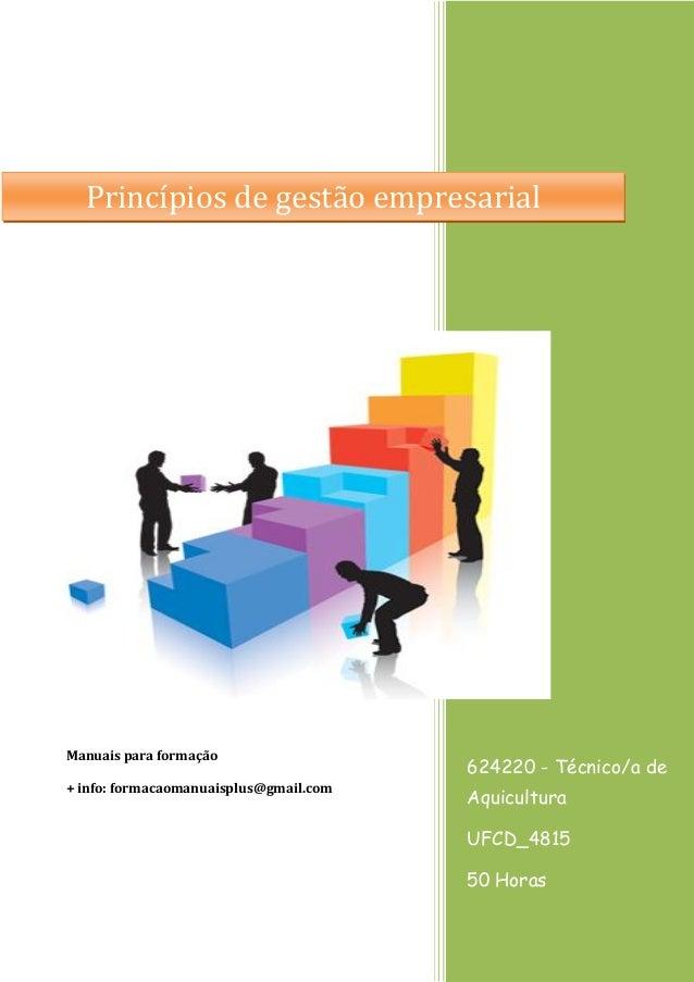 Princípios de gestão empresarial  Manuais para formação  624220 - Técnico/a de  + info: formacaomanuaisplus@gmail.com  Aqu...