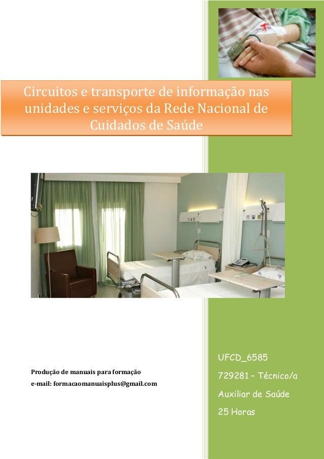 UFCD_6585  729281 – Técnico/a Auxiliar de Saúde  25 Horas  Produção de manuais para formação  e-mail: formacaomanuaisplus@...