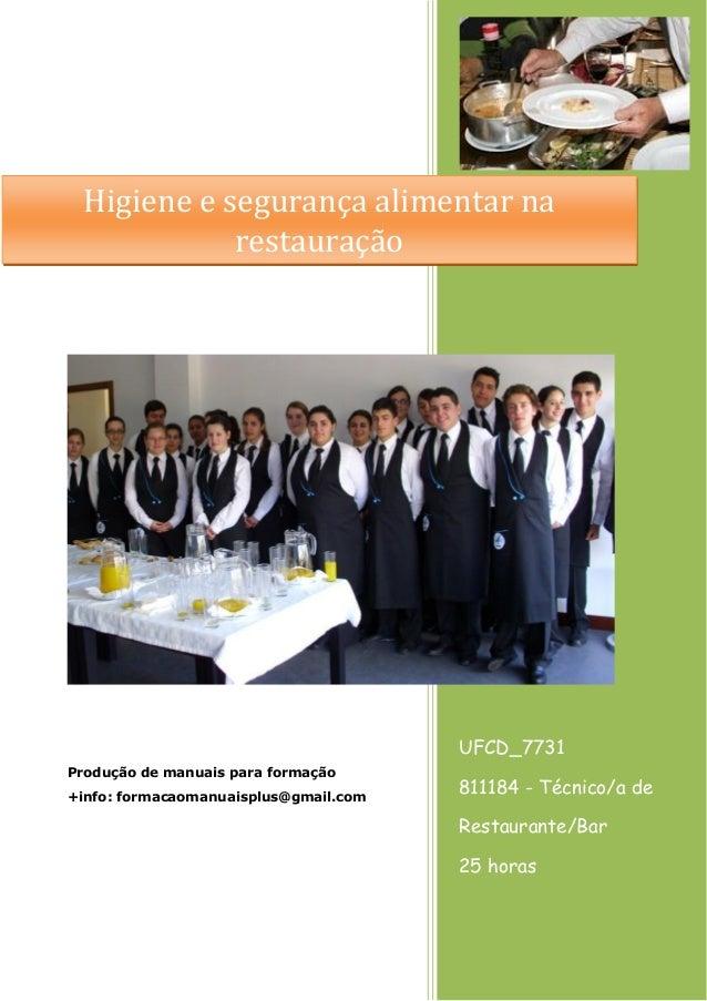 UFCD_7731 811184 - Técnico/a de Restaurante/Bar 25 horas Produção de manuais para formação +info: formacaomanuaisplus@gmai...