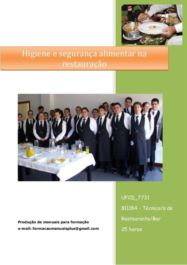UFCD_7731 811184 - Técnico/a de Restaurante/Bar 25 horas Produção de manuais para formação e-mail: formacaomanuaisplus@gma...