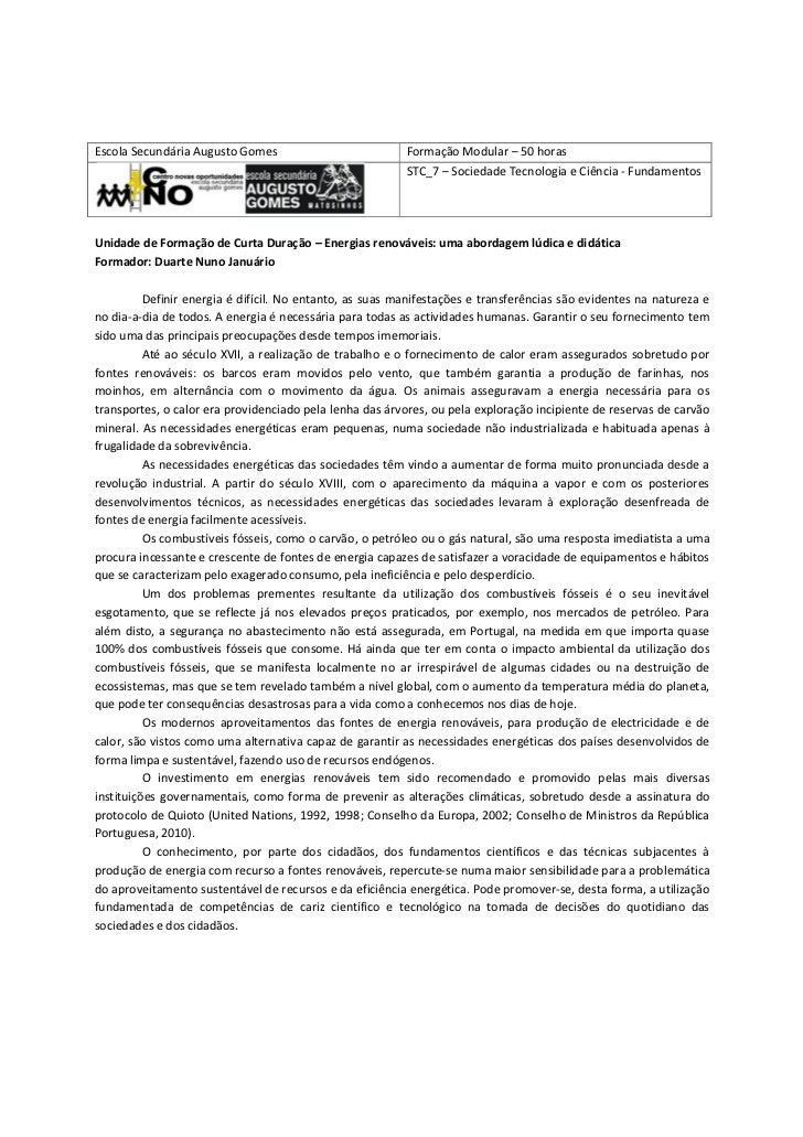 Escola Secundária Augusto Gomes                           Formação Modular – 50 horas                                     ...