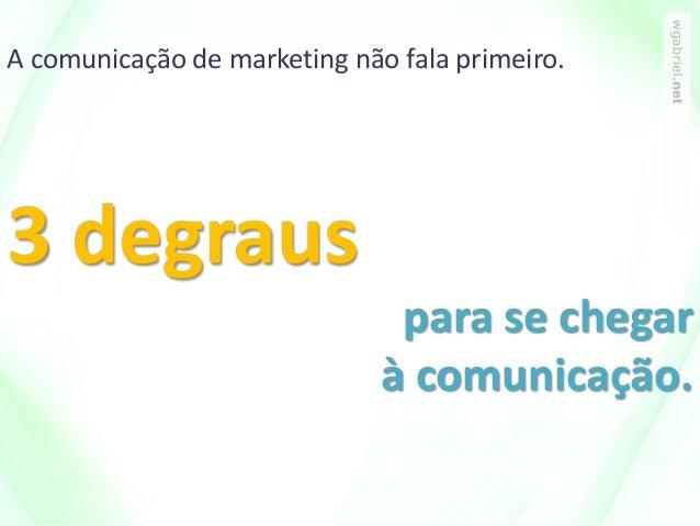 A comunicação de marketing não fala primeiro. 3 degraus para se chegar à comunicação.