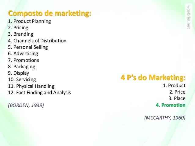 Composto de marketing: 1. Product Planning 2. Pricing 3. Branding 4. Channels of Distribution 5. Personal Selling 6. Adver...