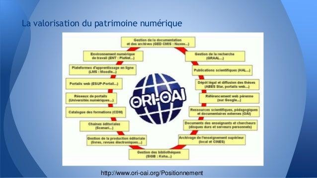 La valorisation du patrimoine numérique http://www.ori-oai.org/Positionnement
