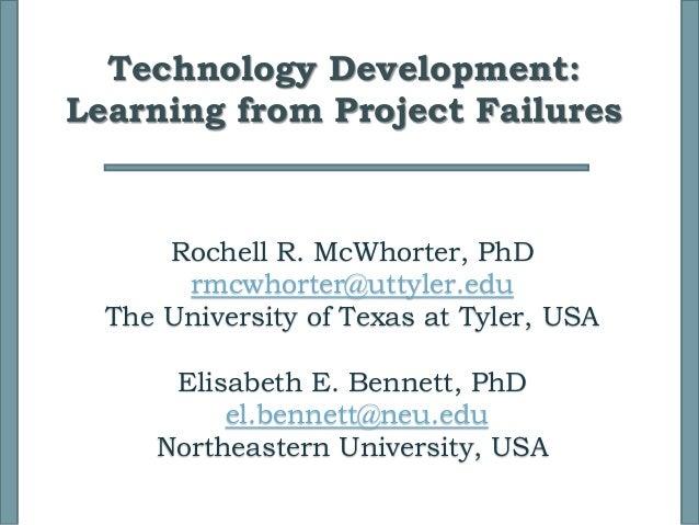 Rochell R. McWhorter, PhD rmcwhorter@uttyler.edu The University of Texas at Tyler, USA Elisabeth E. Bennett, PhD el.bennet...