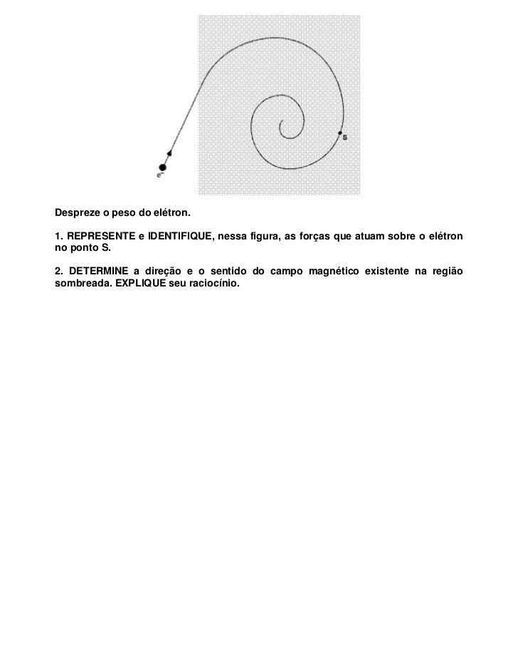 Despreze o peso do elétron.1. REPRESENTE e IDENTIFIQUE, nessa figura, as forças que atuam sobre o elétronno ponto S.2. DET...
