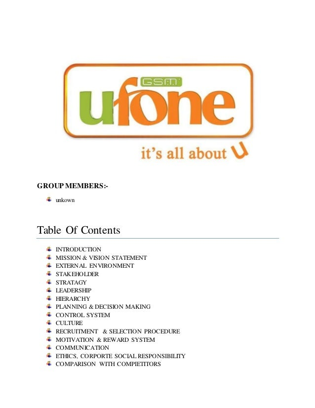 compensation structure of ufone Keeping in view of all these factors the structure of ufone is designed ie the overall structure of the ufone is divisional (more flexible and innovative) mainly ufone has four regions and within those regions the structure is functional the decision making authority is centralized at the top but within the regions it is decentralized ie.