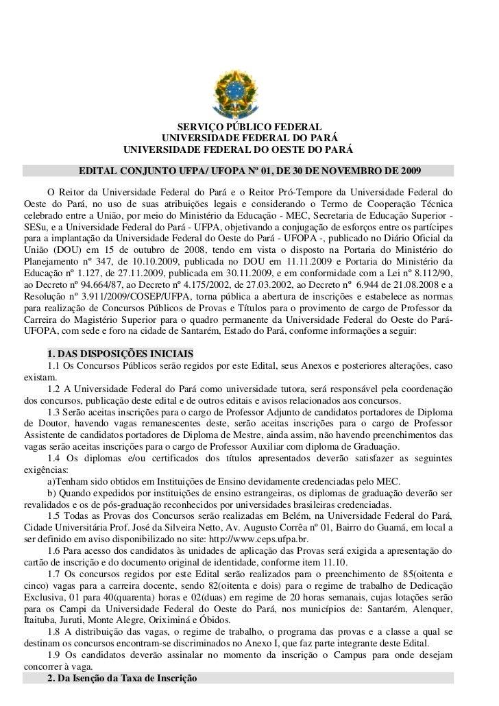 SERVIÇO PÚBLICO FEDERAL                              UNIVERSIDADE FEDERAL DO PARÁ                        UNIVERSIDADE FEDE...