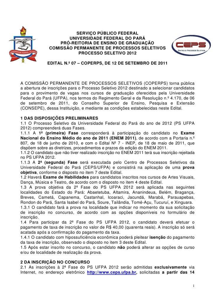 SERVIÇO PÚBLICO FEDERAL                      UNIVERSIDADE FEDERAL DO PARÁ                   PRÓ-REITORIA DE ENSINO DE GRAD...