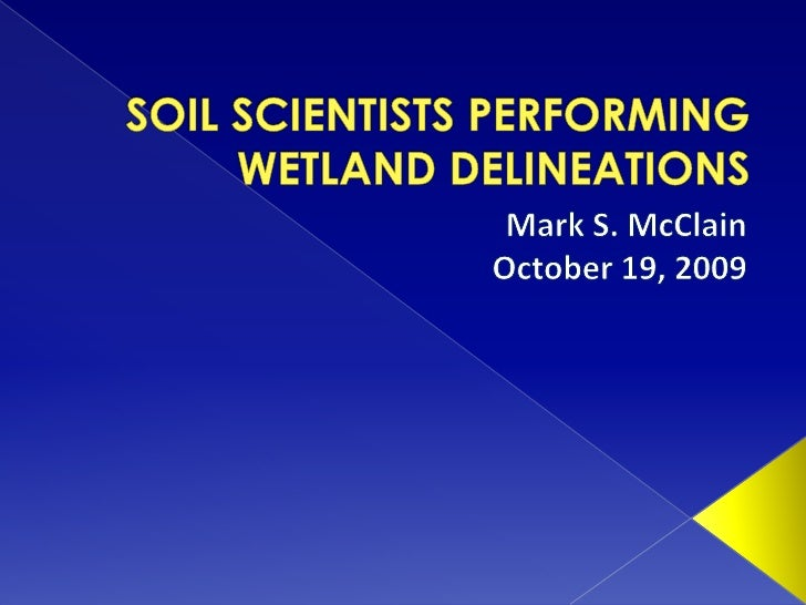 SOIL SCIENTISTS PERFORMING WETLAND DELINEATIONS<br />Mark S. McClain<br />October 19, 2009<br />