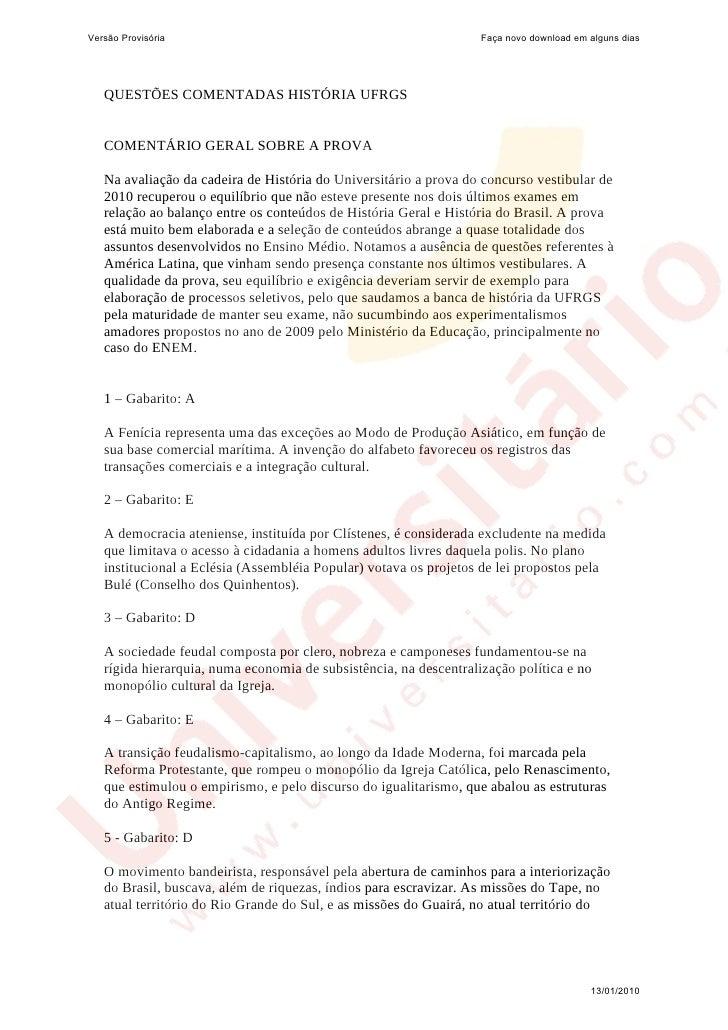 Versão Provisória                                                  Faça novo download em alguns dias   QUESTÕES COMENTADAS...