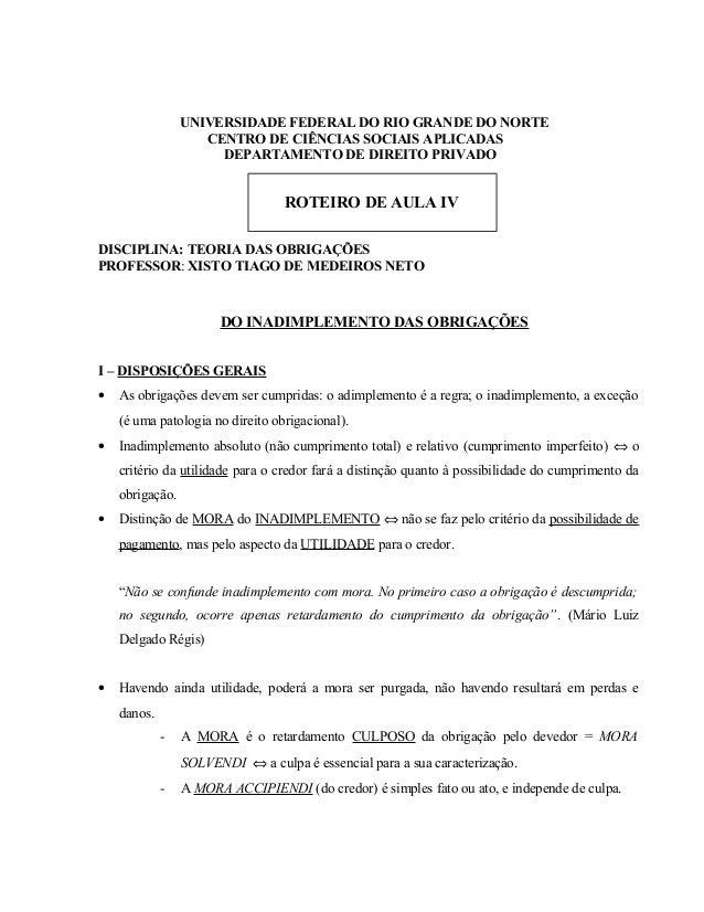 UNIVERSIDADE FEDERAL DO RIO GRANDE DO NORTE CENTRO DE CIÊNCIAS SOCIAIS APLICADAS DEPARTAMENTO DE DIREITO PRIVADO  ROTEIRO ...