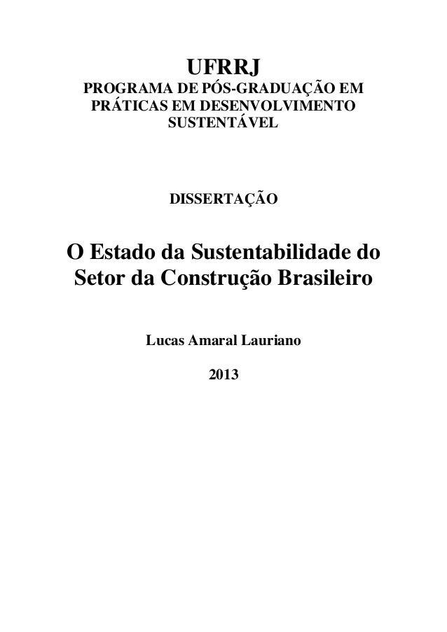 UFRRJ PROGRAMA DE PÓS-GRADUAÇÃO EM PRÁTICAS EM DESENVOLVIMENTO SUSTENTÁVEL DISSERTAÇÃO O Estado da Sustentabilidade do Set...